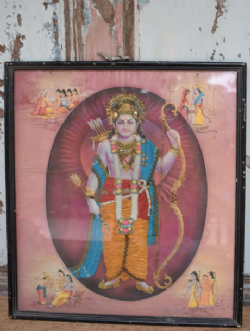 Vintage Print of Lord Rama with Bow and Arrows